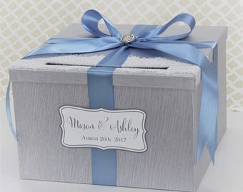 Wedding Card Box Silver and Dusty Blue Lace Vintage Style Wedding Card Holder Customizable