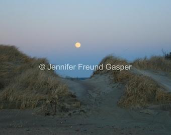 Wolf Moon, Landscape photography, Full moon, Nature photography, block island photography, sand dunes, Ocean photo, beach photography