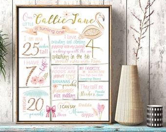 Tropical First Birthday stat, Flamingo theme, Pastel Party, Birthday poster, Milestone print, girl nursery, Girl's tropical birthday decor