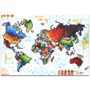 Metal world map etsy rainbow map a world of diversity by megan duncanson modern map art colorful gumiabroncs Images