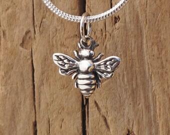 Sterling Silver Tiny Bee Charm Pendant Necklace Worker Bee Bumblebee Honeybee