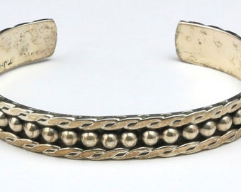 Vintage Sterling Silver Taxco Cuff Bracelet Artisan Stamped Signed Mexico