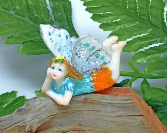 Fairy Figurine - Confetti Fairy Series  Aqua Blue and Orange with Silver Wings Pink Flowers in her Hair Fairy Garden Kit
