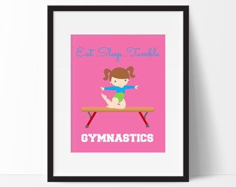 Gymnastics Print, Gymnastics Gift, Gymnastics Girls Room, Personalized Name Print, Eat Sleep Tumble