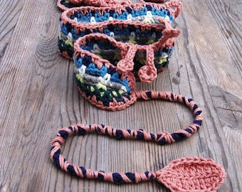Colorful crochet boho belt rustic headband bracelet hair jewelry fairy roses leaves feminine Bohemian clothing Frida Kahlo inspired