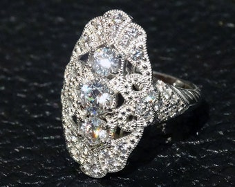 Vintage Ring Diamond Replica CZ Sterling Edwardian Style