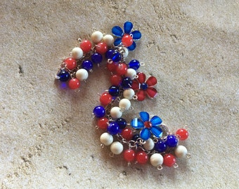 Patriotic Jewelry, Patriotic Earrings, Red, White and Blue Patriotic Bracelet, 4th of July Bracelet, Memorial Day, Gift For Her