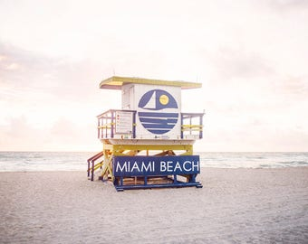 "Miami Beach, Photography, Beach Decor, Coastal Art, Pastel, South Beach, Beach Decor, Beach Art, Coastal Decor, Lifeguard Tower, ""Miami """