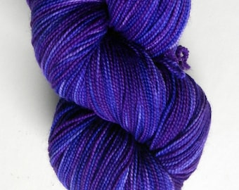 Hand dyed ultra violet and blue 100% merino superwash sock yarn