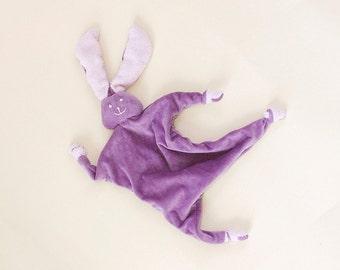 Purple Baby Blanket   Bunny Comforter   Lovie Baby Blanket   Baby Security Blanket   Stuffed Bunny   Baby Fleece Blanket   Baby Sleeping Toy