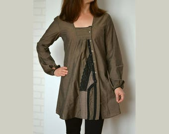 Women's cotton tunic jacket, tunic with buttons, brown tunic sleeves, artsy tunic jacket, recycled tunic, upcucled clothing, tunic size M