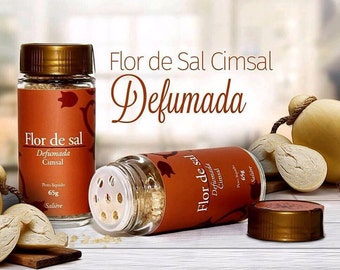 Smoked salt flower, craft product of the Brazil. 65 grams salt