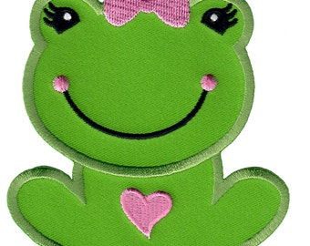 Girl Frog Iron-On Patch Applique - Kids / Baby