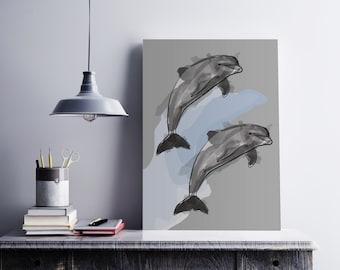 Dolphin watercolor graphic art print - dolphine illustration - kids print - animals illustration print