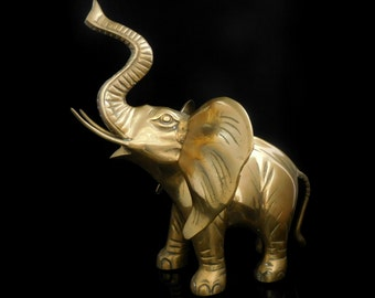 5.82 lbs Large Handmade Brass Elephant Statue Figurine / Made in India or Nepal