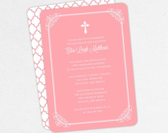 Baptism Invitation, Christening Invitation, Girl Baptism, Printable Baptism Invitation, PDF, DIY Invitation, Modern, Classic, Pink, Elise