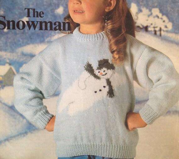 The Snowman Jumper Knitting Pattern Pdf Vintage Instarsia