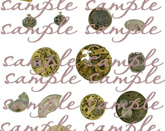 Vintage Antique Watch Parts Digital collage Instant Download for steampunk, collage, charms,  altered art, paper supplies, ephemera, ACEO