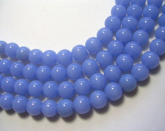8mm Blue Beads Periwinkle Rounds Opaque Cornflower Periwinkle blue beads 8mm 40 glass Beads 12 inch strand Blue Jewelry