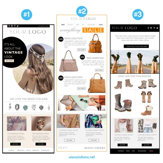 Email Newsletter PSDHTML Template Custom Ecommerce - Email blast templates