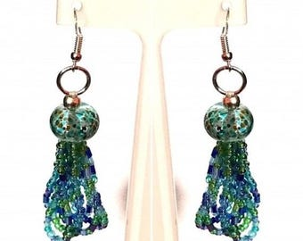 Blue & Green Lamp Work Beaded Earrings