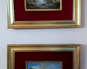 Complimenting Pair of Diminutive Landscape Paintings, Miguel Montaner