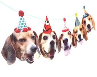 Beagles Birthday Garland - photo reproductions on felt - funny dog portraits birthday banner
