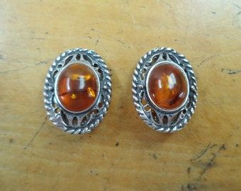 Vintage Sterling Silver 925 Amber Clip On Earrings Handcrafted Oval Medium Size