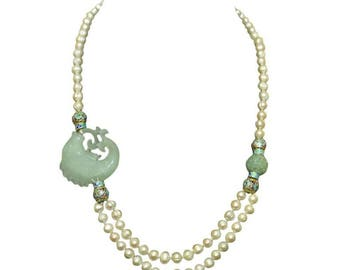 Chinese Carved Serpentine Koi Fish Necklace with Enamel and Freshwater Pearls.