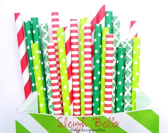 SLEIGH BELLS -Christmas Party Decor *Red and Green Straws *Paper Straws *Christmas Straws *Red Straws *Lime Green Straws *Kelly Green Straws