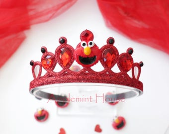 Elmo Crown, Elmo Headband,Elmo Birthday,Elmo Birthday Crown,Elmo Party Crown,Elmo Birthday headband,baby Elmo,Red Crown, Red Crown