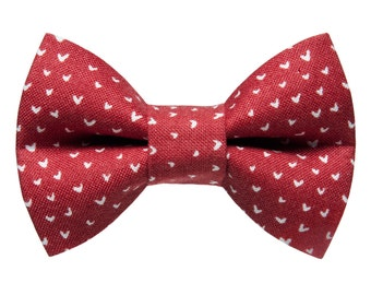 "Cat Bow Tie - ""The Sweetheart"" - Red with White Hearts"