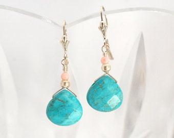 Turquoise earrings   Aqua Howlite earrings   Gift for Mom   Dyed Howlite earrings   Aqua earrings   Turquoise and Silver earrings