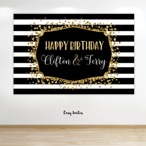 Printable Birthday Banner, Printable birthday backdrop, black gold printable, black gold birthday banner, black gold birthday, black gold