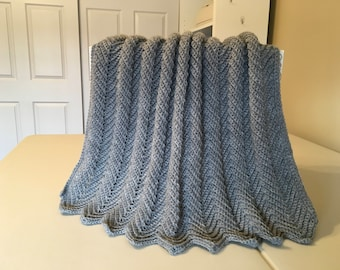 Crocheted Ripple Baby Afghan- Gray