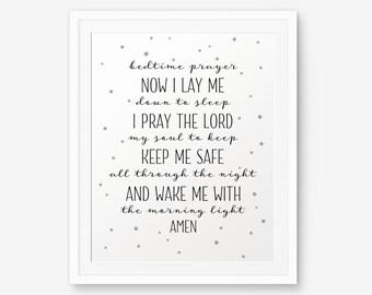 Bedtime Prayer, Nursery decor, Baby shower gift, Baptism Gift, Children Wall Decor, Bedroom Decor