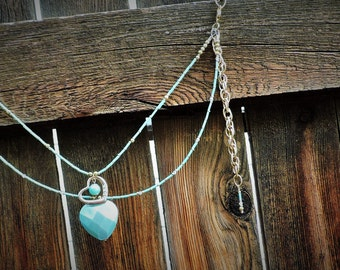 Heart of turquoise and gold purse wrap