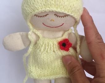 Yellow Newborn doll. Handmade