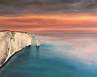 Morning Haze at Old Harry. Signed Ltd Edition Fine Art Print by Rob Parkinson