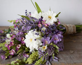 Wildflower Bouquet Lavender, Purple Bouquet, Rustic Bouquet, Wedding Bouquet, Boho Bridal Bouquet, Silk Flower Bouquet, Lavender Bouquet
