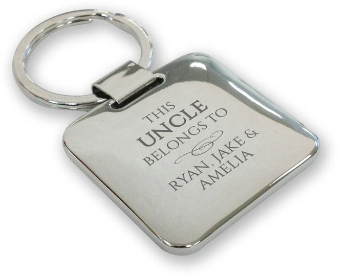 Personalised engraved SILVER PLATED This UNCLE belongs to keyring gift, deluxe pillow square keyring - SQB3