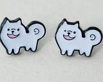Samoyed enamel pierced stud earrings.
