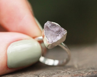Raw Amethyst Ring, Sterling Silver Ring, Raw Amethyst Ring, Silver Ring, Boho, Amethyst Jewelry, Boho Ring, Statement, Boho Jewelry,