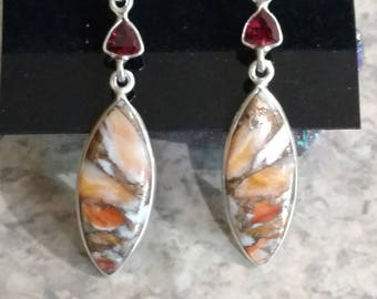 Spiny Oyster and Garnet Earrings