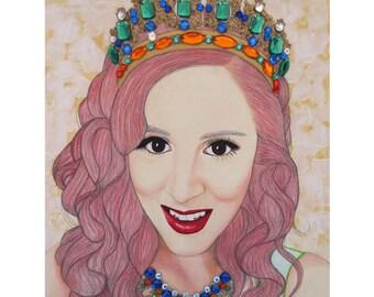 Bejeweled Beauties - Katrina Steinman - Mixed Media Art - ART PRINT - 8 x 10 - By Toronto Portrait Artist Malinda Prudhomme
