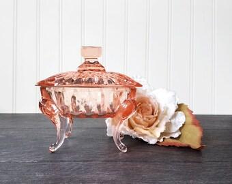 Vintage Footed Pink Glass Trinket Box - Lidded Jewelry Box