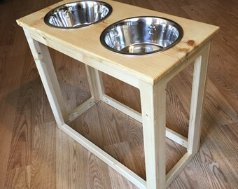 "6""- 20"" Raised Dog Feeder Industrial Style with 2-Quart Bowls - Elevated Feeder Feeding Stand Bowl Holder"