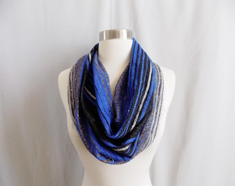 Blue Cowl- Boho Scarf- Bohemian Style- Boho Accessory- Snood- Mexican Blanket- One Of a Kind- Knitted Cowl- Boho Scarf- Cowl Scarf
