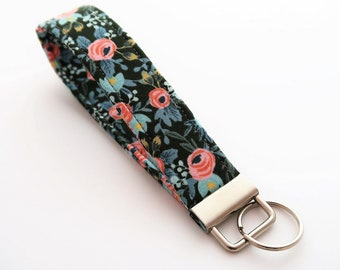 Floral wristlet keychain- Rifle Paper Co. key fob - flower keychain - short lanyard key strap - small gift ideas - gifts for best friends