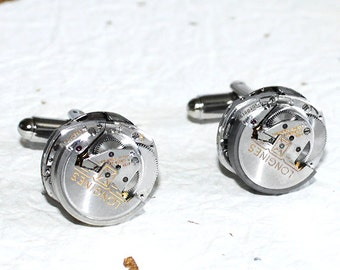 LONGINES Men Steampunk Cufflinks - RARE Longines Luxury Swiss Silver Automatic Vintage Watch Movement Men Steampunk Cufflinks / Cuff Links